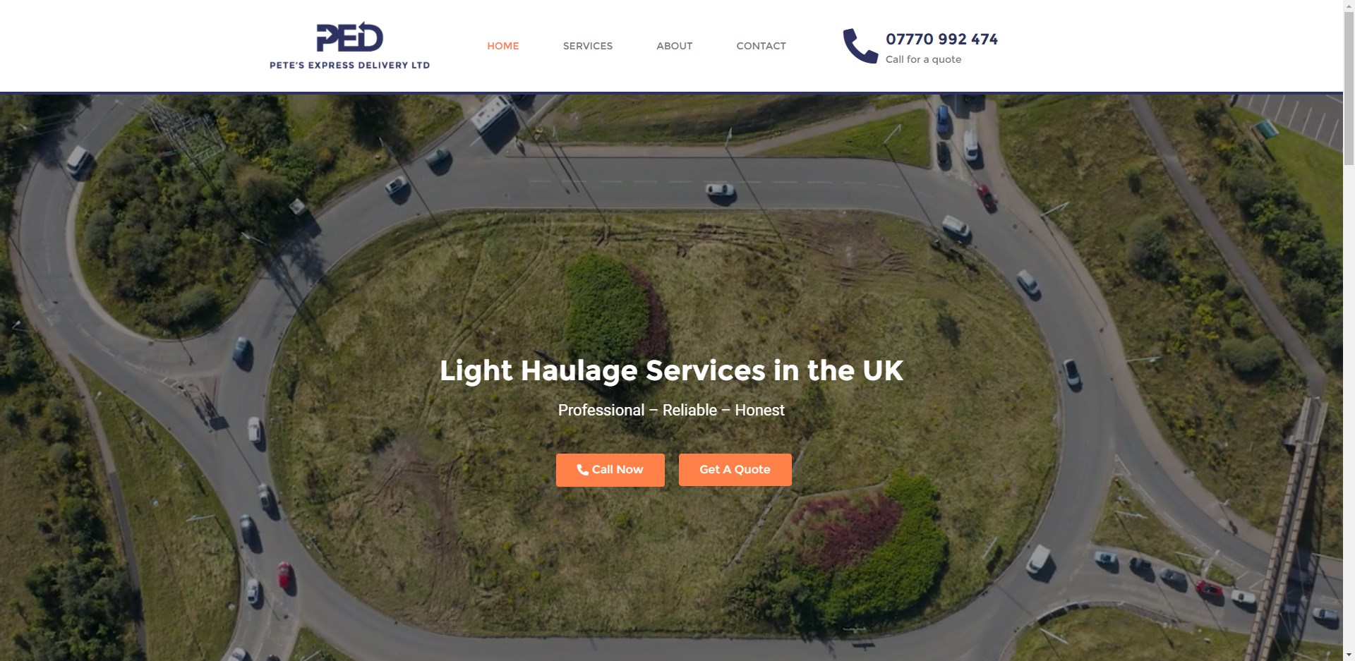 Pete's Express Delivery Website Design