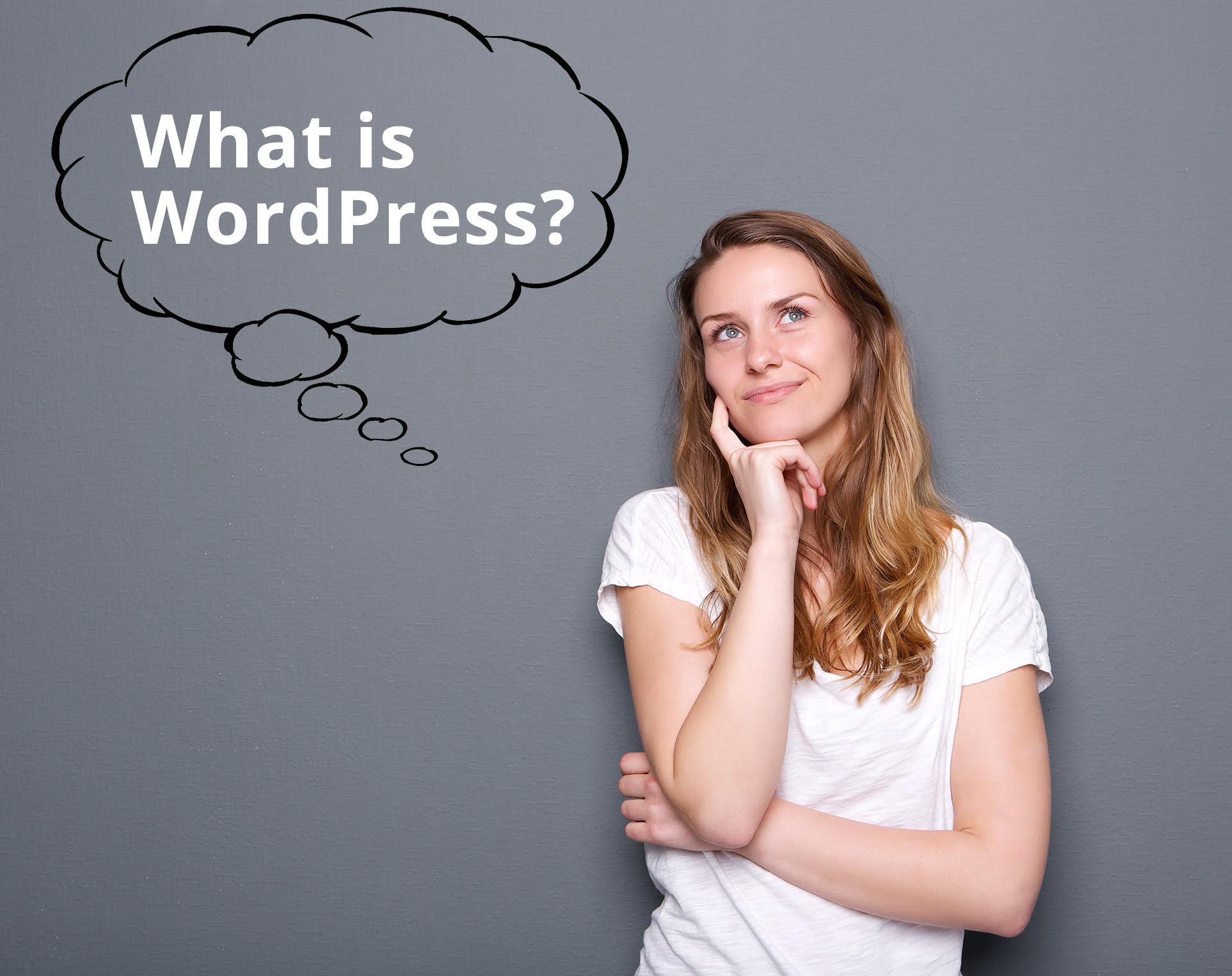 "Woman asking ""What is WordPress?"""